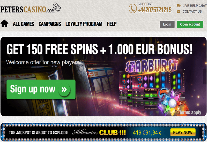 Peters Casino Home Page