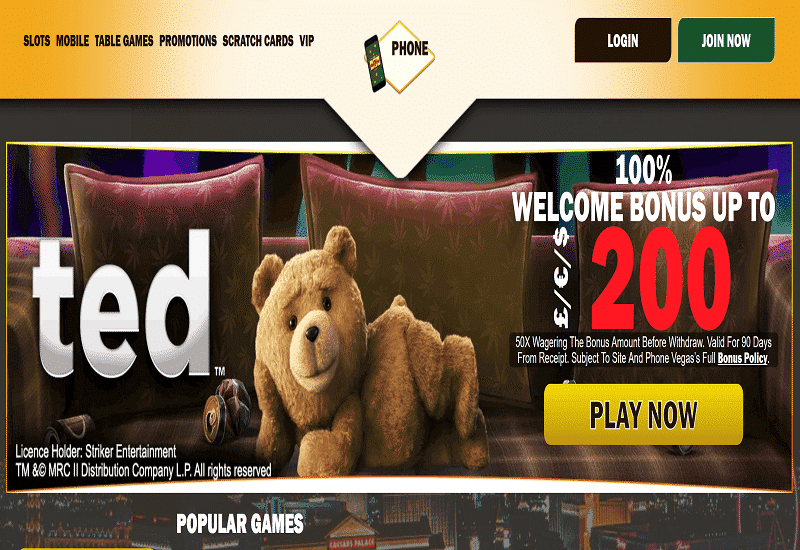Phone Vegas Casino Home Page