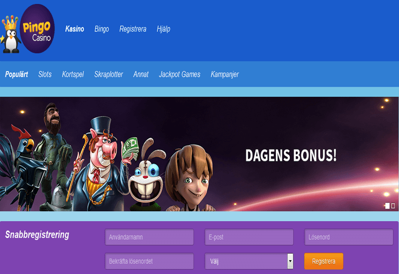 Pingo Casino Home Page