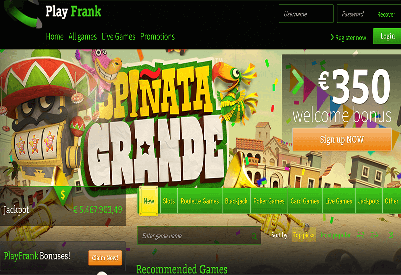 Play Frank Casino Home