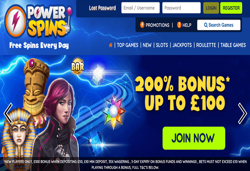 Power Spins Casino Home Page