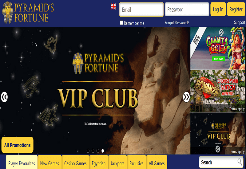 Pyramids Fortune Casino Home Page
