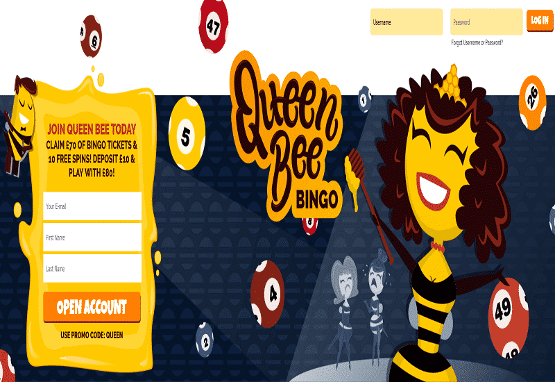 Queen Bee Casino Home Page