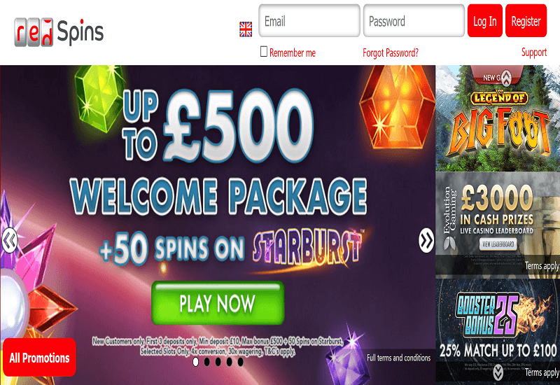 Red Spins Casino Home Page