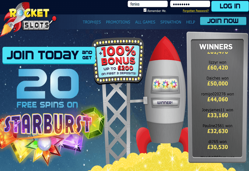 Rocket Slots Casino Home Page
