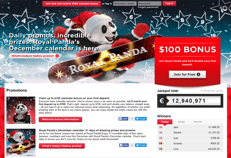 Royal Panda Casino Promotion Page
