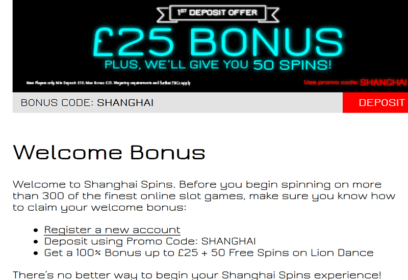 Shanghai Spins Casino Promotion