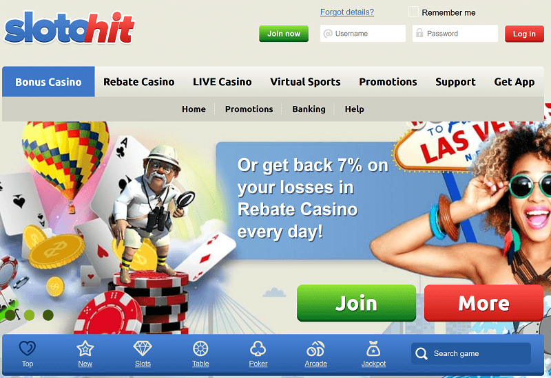 SlotoHit Casino Home Page