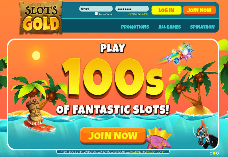 Slots Gold Casino Home Page