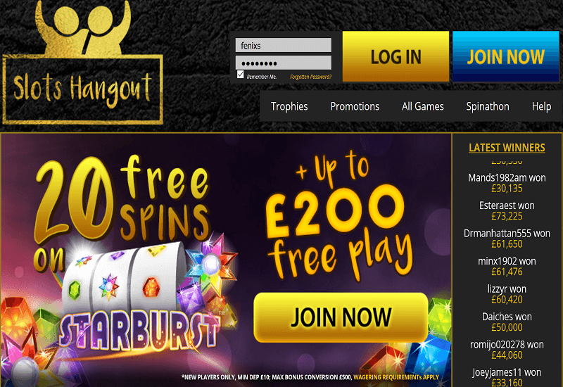 Slots Hangout Casino Home Page