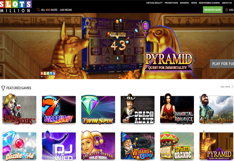 SlotsMilion Casino Home Page