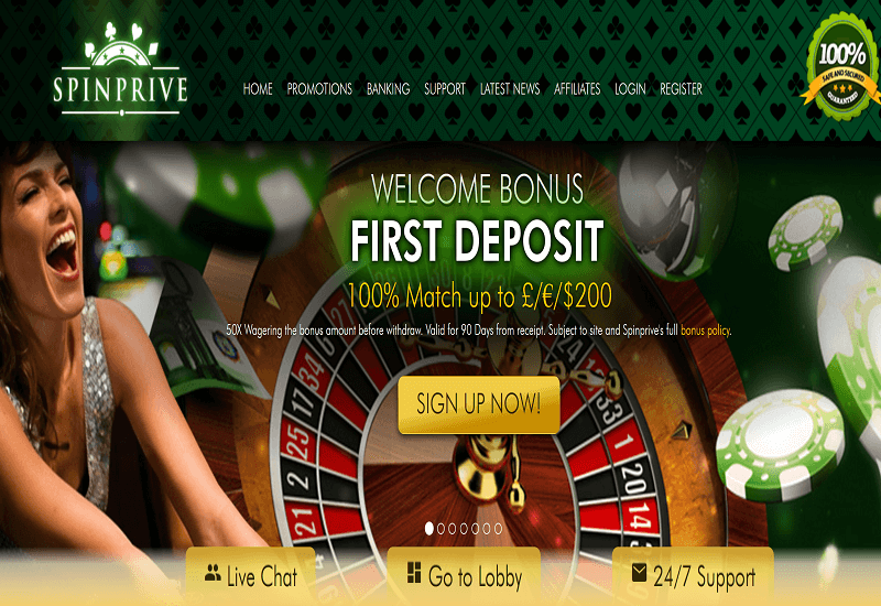 Spin Prive Casino Home Page