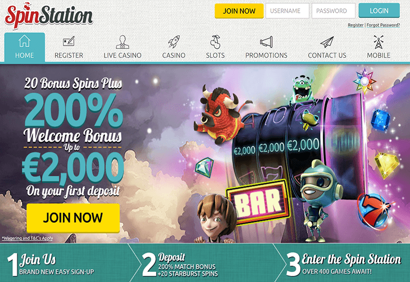 SpinStation Casino Home Page
