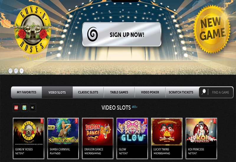 Spinson Casino Home Page