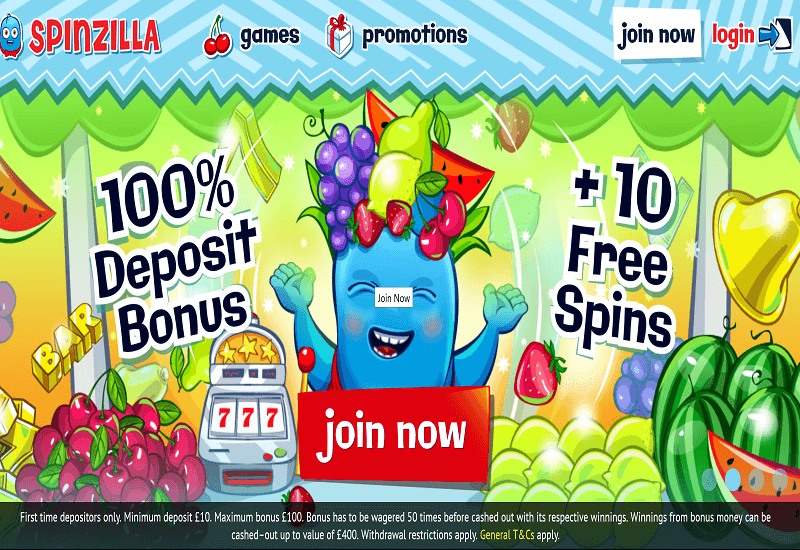 Spinzilla Casino Home Page