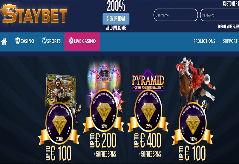 Staybet Casino Home Page