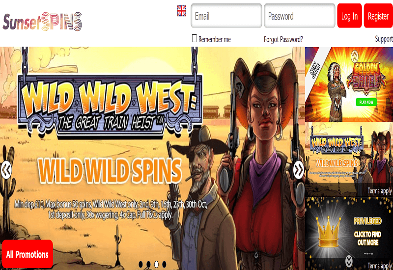 Sunset Spins Casino Home Page