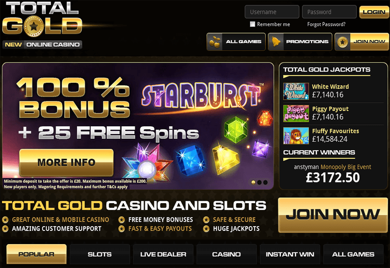 Total Gold Casino Home Page
