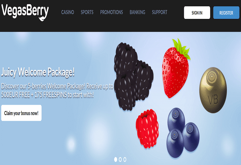 Vegas Berry Casino Home Page