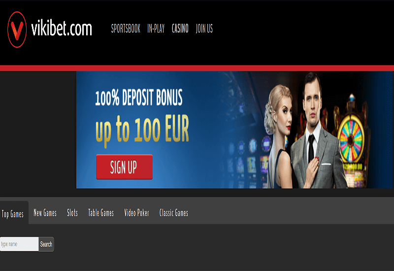 VikiBet Casino Home Page