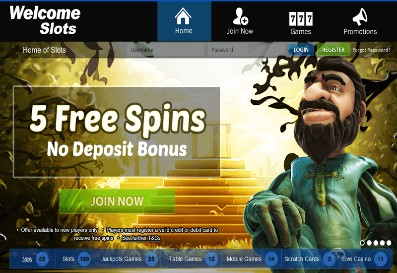 Welcome Slots Casino Home Page
