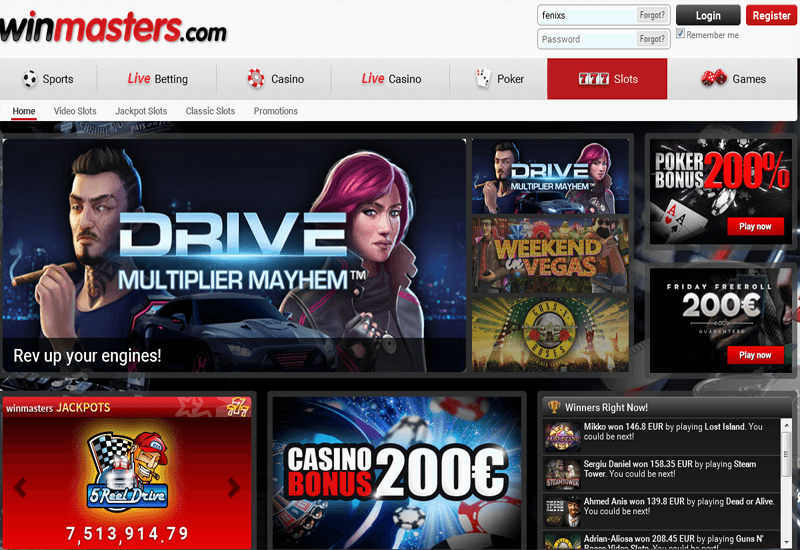 Winmasters Casino Home Page