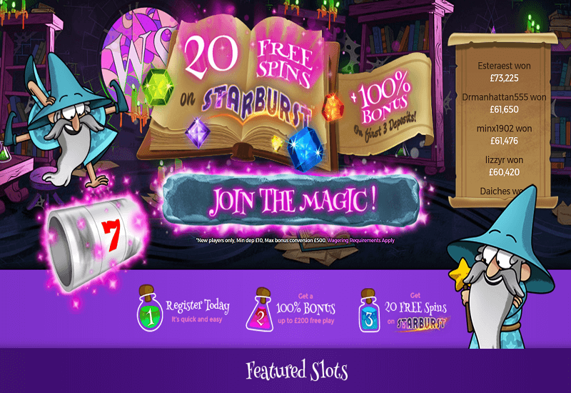 Wizard Slots Casino Home Page