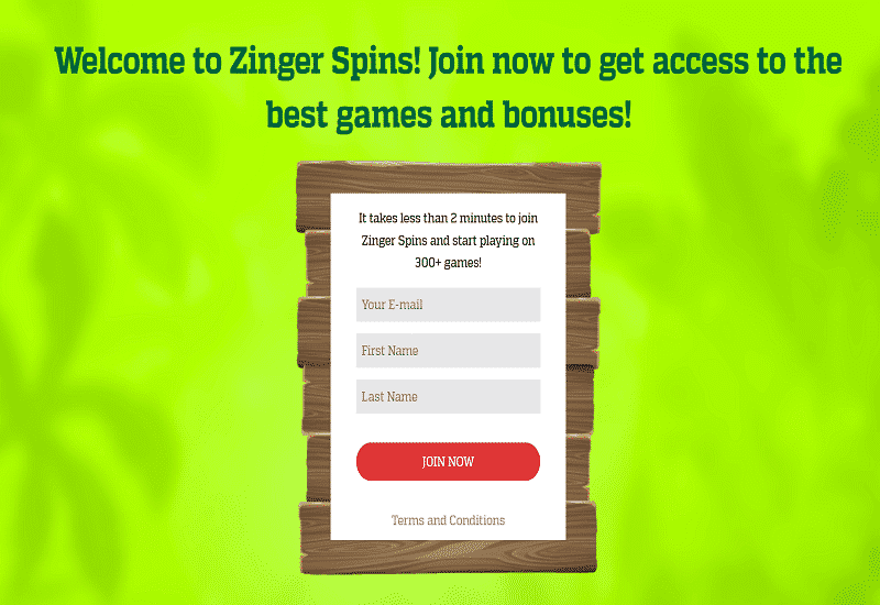 Zinger Spins Casino Home Page
