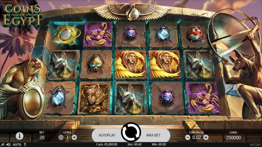 Coins of Egypt Video Slot - NetEnt