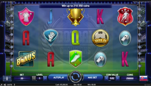 Football: Champions Cup Video Slot from NetEnt