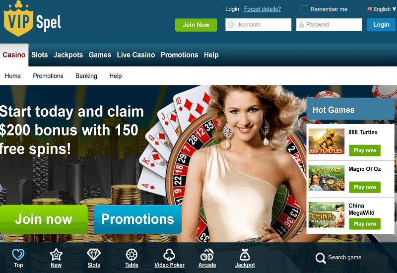 VIPSpel Casino Home Page